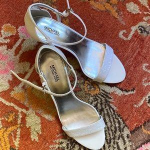 Michael Kors sparkling glitter white heels